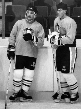 Work ethic of Bryan Trottier was a good example for Jaromir Jagr, 1990 (Photo by John Heller, The Pittsburgh Press)