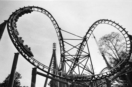 Steel Phantom cars zoom through the boomerang, May 1991. (Darrell Sapp/Post-Gazette)