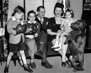 Zivic and his family in 1946. (Pittsburgh Press photo)