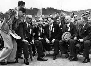 United Steelworkers president Phillip Murray (seated, left) and United Mine Workers president John L. Lewis (seated, center) at South Park in an undated picture. (Photo credit: Unknown)