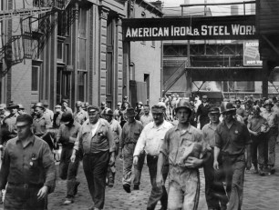 At the request of Uncle Sam, workers at the J&L plant at South 27th Street spent Labor Day in 1943 on the job. Here, many leave for lunch. (Pittsburgh Press photo)