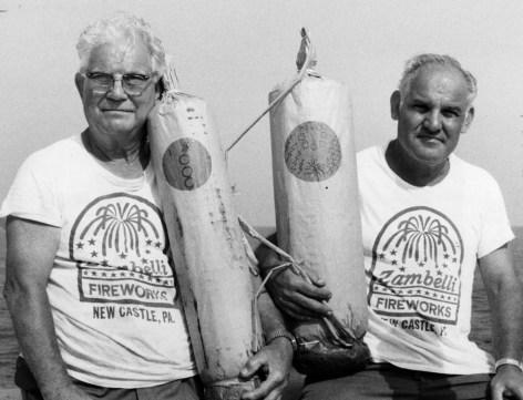 Joseph (left) and Lou Zambelli Sr. in 1985. (Photo credit: Unknown)