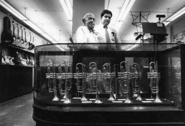Walter, left, and Carl Volkwein of Volkwein's, in 1988. (Tom Ondrey/Pittsburgh Press)