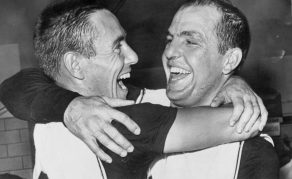 A Couple of Real Happy Pirates -- Bill Mazeroski, left, whose ninth inning home run won the final game of the World Series for the Pittsburgh Pirates, hugs Hal Smith (AP photo)