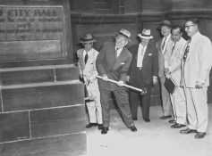 Lawrence struck the first blow during demolition of old City Hall at Smithfield Street and Oliver Avenue.