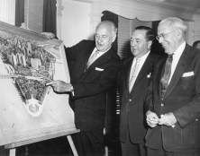 Conrad Hilton, left, Chicago Mayor Richard J. Daley, center, and Pittsburgh Mayor David Lawrence examine the site of the proposed Hilton hotel in Pittsburgh on June 11, 1956.