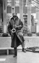 Turrentine plays on the streets of Pittsburgh, April 1992. (Post-Gazette photo)