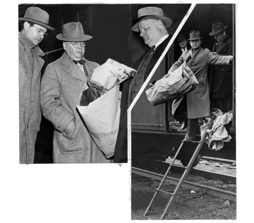 Investigators found blood-stained papers and bags inside the boxcars. (Pittsburgh Press photos)