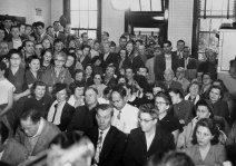 Spectators packed the Chippewa Township Municipal Building for a preliminary hearing in the Bankowski case in January 1953. (Pittsburgh Press photo)