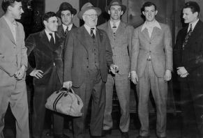 In March 1945, Wagner stood inside the Pittsburgh and Lake Erie Railroad Station en route to Muncie, Ind., for Pirates training camp with a group of players. (Photo credit: unknown)