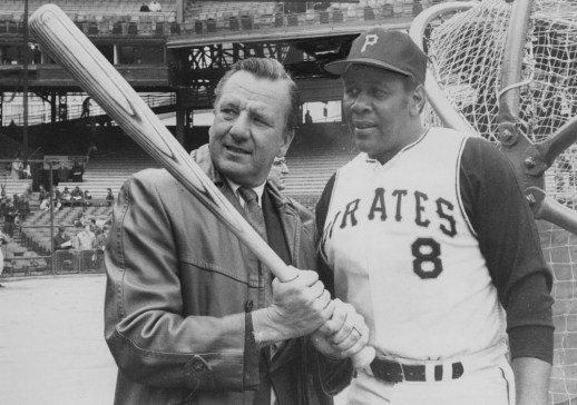 April 6, 1970: Willie Stargell and Ralph Kiner at Forbes Field during its final season. (James Klingensmith/Post-Gazette)