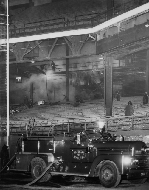 Dec. 24, 1970: Clemente Corner caught fire on Christmas Eve. It became a five-alarm fire after firefighters could not get into the locked field quickly enough. (Bill Levis/Post-Gazette)