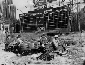 Oct. 15, 1971: Workmen helped to demolish Forbes Field in autumn 1971 use portable radios to listen to the World Series at Three Rivers Stadium between the Pirates and Orioles. (Photo credit: unknown)
