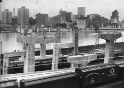 Late 1950s: Fort Pitt Bridge under construction over the Monongahela. (Post-Gazette photo)