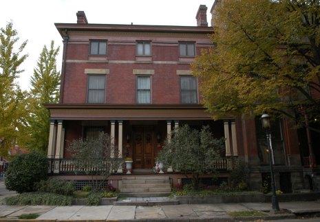 Reinhart's Beech Street home on Pittsburgh's North Side has been restored. (Annie O'Neill/Post-Gazette)