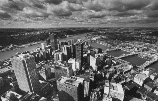 March 10, 1983: View of Pittsburgh from the top of the U.S. Steel building. (Pittsburgh Press photo)