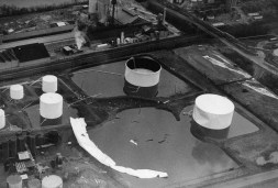 Ashland oil tank site with the remains of the tank that disintegrated (Post-Gazette photo)