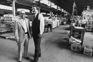 Dick Battaglia and Alan L. Siger, leaders of Pittsburgh's produce industry. In 1982, the city announced plans to renovate the terminal. (James Klingensmith/Post-Gazette)