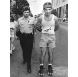 Ralph Montgomery of West View was arrested for entering the race on roller skates. (Photo by Greg Ellis)