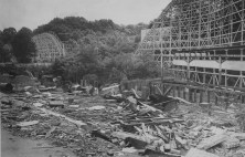 July 5, 1979: Two years after the park was abandoned, concession stands and amusement building were leveled. Coasters still stood, but not for long. (Credit: Marlene Karas/The Pittsburgh Press)