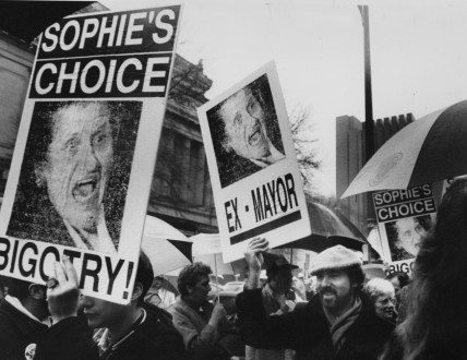 March 6, 1989: Gay and lesbian activists protest outside the Syria Mosque after city gay rights legislation failed. (Credit: Mark Murphy/Post-Gazette)