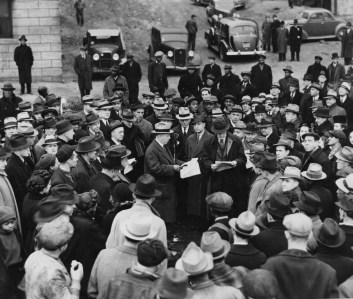 Dec. 19, 1938: Crowd at ground-breaking ceremony for first project of Pittsburgh Housing Authority. (Credit: Unknown)
