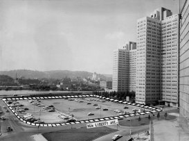 The Pittsburgh Press in June 1956 used a dotted line to show where the new hotel would be built. (Pittsburgh Press photo)