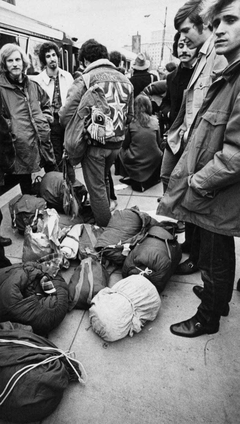 November 14, 1969: Peace marchers gear up for a trip to Washington. (Michael Chikiris/Pittsburgh Press)