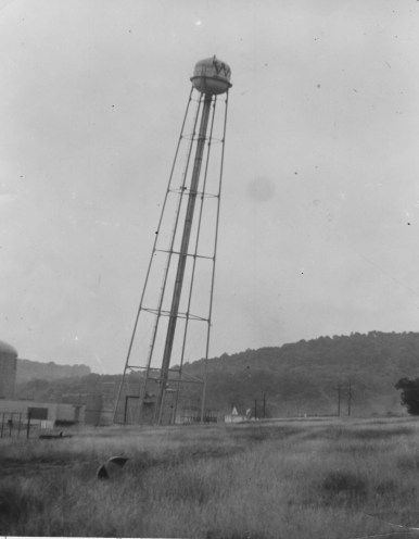 Aug. 31, 1969: A 20-story water tower used to serve a Westinghouse nuclear reactor in Westmoreland County became expendable after just 11 years. (The Pittsburgh Press)