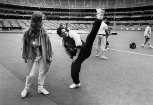 Aug. 23, 1990: PBT members were invited to Three Rivers Stadium for batting practice. While there, they worked on an unorthodox pitching leg kick delivery. (Melissa Farlow/The Pittsburgh Press)