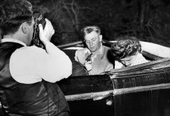 Frank Ringler recreated the murder for a police camera, then recanted his confession (Pittsburgh Press photo)