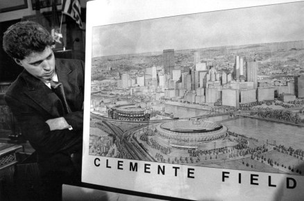 Michael Lamb, then an aide to Pittsburgh City Councilman Michael Coyne, looked over a rendering of the proposed ballpark. (John Beale/Post-Gazette)