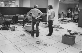 Sept. 22, 1981: Workers install new office equipment in the newsroom. (Andy Starnes/The Pittsburgh Press)