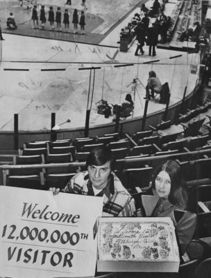 Nov. 23, 1971: John Garzel, 22, a Pitt student, and Judy Huling, his fiancee, watched the Pittsburgh Condors lose 114-112. (Michael Chikiris/The Pittsburgh Press)