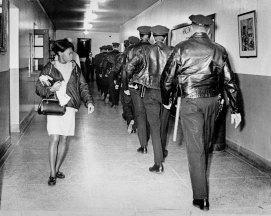 After trouble in 1967, police walked the halls of Oliver High School. (Pittsburgh Press photo)