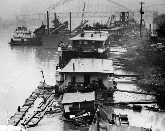 Floating debris from Zubik on the North Shore in 1961. (Pittsburgh Press photo)