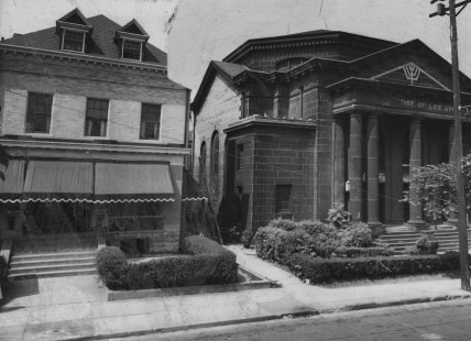 This picture from 1951 shows the Tree of Life synagogue, which was converted into The Pittsburgh Playhouse on Craft Avenue in Oakland. (Photo by Jack D. Mahony)