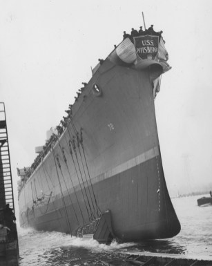 Feb. 23, 1944: Mrs. Cornelius Scully, wife of the Pittsburgh mayor, was at the original ship commissioning in Quincy, Mass. (ACME photo)