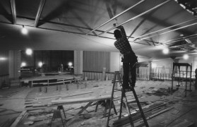 During renovations in 1991, workman Bill Pyle installed a ceiling frame under the balcony of the Fulton Theater, which became the Byham Theater.