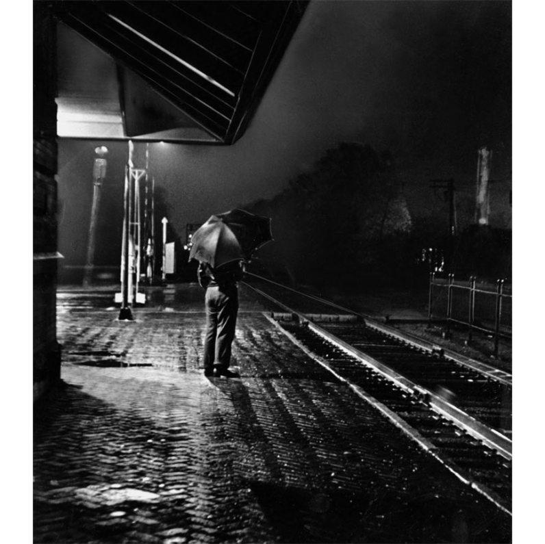 Man at a train station, 1942. (Pittsburgh Press photo)