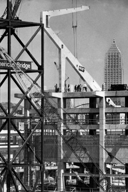 May 1969: The first of 68 gigantic C frames was lifted into place by a traveling crane that U.S. Steel built specially for the job. (Harry Coughanour/Post-Gazette)