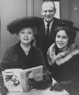 """Syndicated gossip columnist Hedda Hopper, at left, appeared in Pittsburgh in 1963 to promote her book, """"The Whole Truth and Nothing But."""" Wtih her is Ernest Stern and his wife, Regina."""
