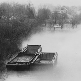 Feb. 19, 1981: Fog on Neville Island in the Ohio River. (Darrell Sapp/Post-Gazette)