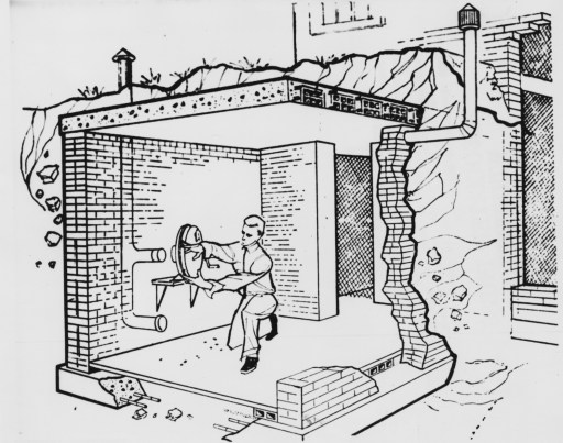Sept. 24, 1961: This drawing is from a new Defense Department handbook on family fallout shelters released in Washington today. The shelter is below ground outside a house, with an entrance from the basement. Man in drawing is installing a hand-operated blower. Cost is estimated at between $550 and $650 when built as part of new house construction. (Associated Press)