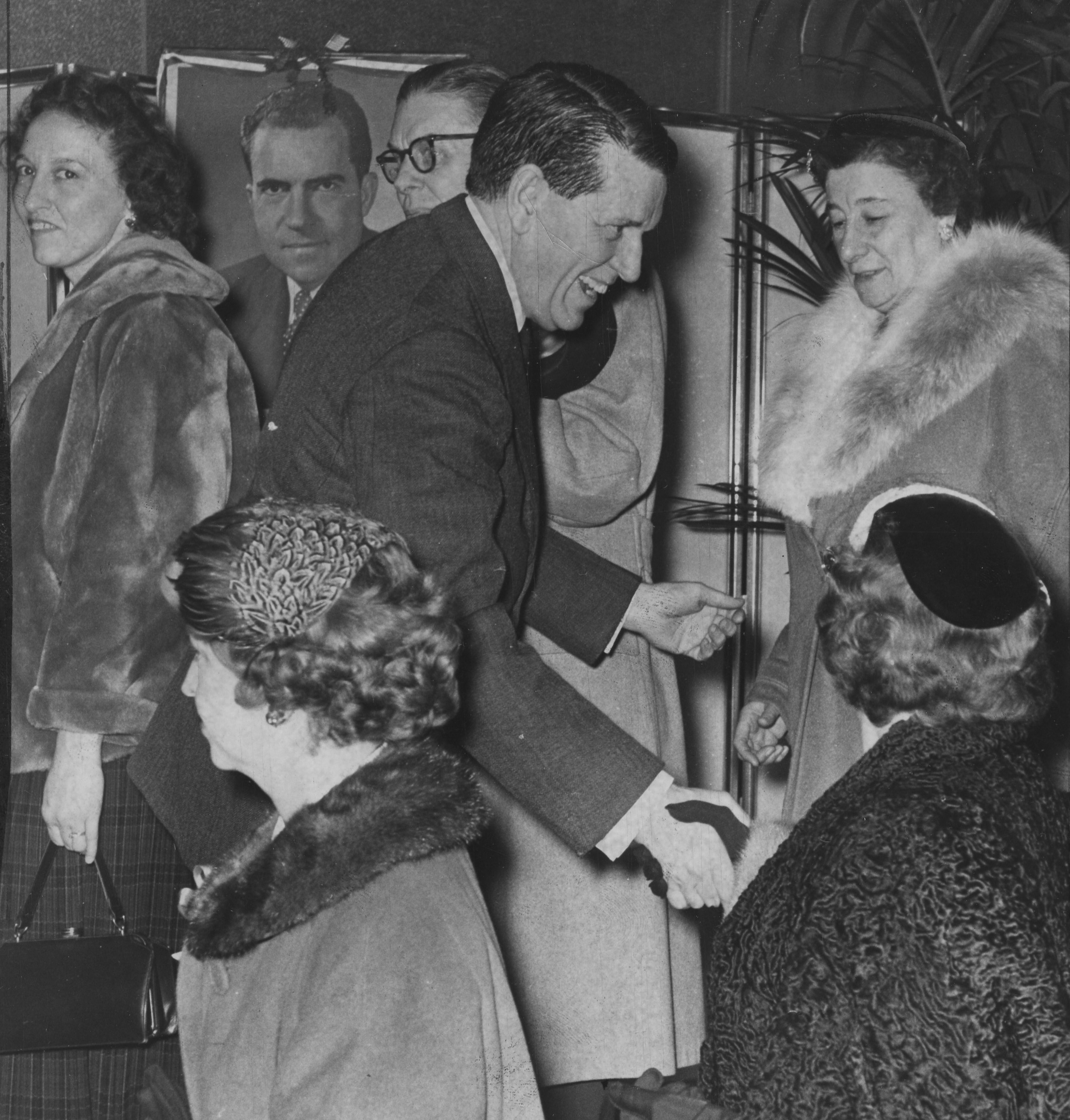 Rep. James G. Fulton greets voters at a Nixon for President tea in 1959. 