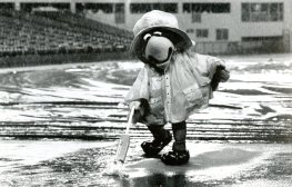 Pirate Parrot 'vacuuming' in his rain gear during rain delay, 1988, Post-Gazette photo.