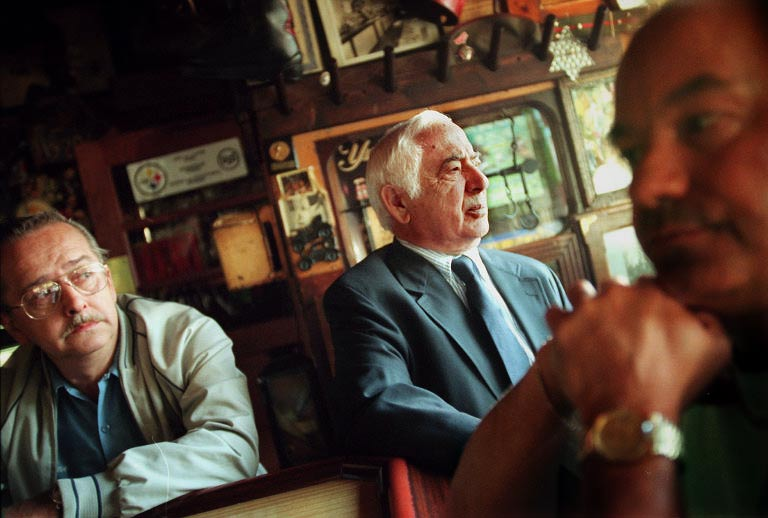 Joe Chiodo (center) stands at the bar with two customers, Steve Tomko of Munhall (left) and John Troha of Whitaker in 1997. (Steve Mellon/Post-Gazette)