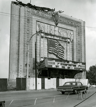 The Liberty, Christine Contillo's destination that evening, shown during its 1968 demolition. (The Pittsburgh Press)