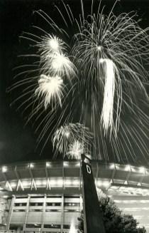 Fireworks soar above Three Rivers Stadium in July 1983.