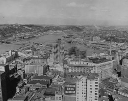 1950s: An aerial view of Downtown Pittsburgh, the Farmers Bank Building, Market Square, the North Side and Gateway Center construction near the Point. (The Pittsburgh Press)